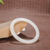 玉手環 玉石匠新疆和田玉羊脂級白玉手鐲玉鐲子復古圓條手鐲少女細條手鐲