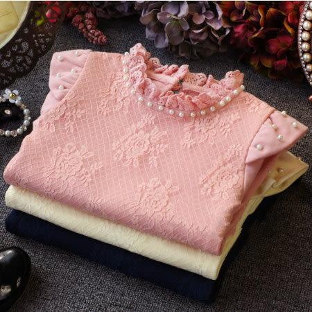 *╮小衣衫S13╭*唯美珍珠領小飛袖蕾絲加絨上衣 1041130
