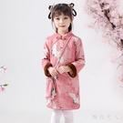 女童旗袍洋裝冬裝夾棉女寶寶拜年服周歲禮服鹿皮絨過年喜慶唐裝連身裙LXY4580【極致男人】