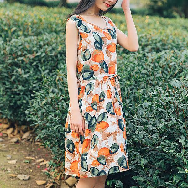 現貨 印花抽繩長洋裝連身裙背心洋裝 韓版【88-16-8303-1044】ibella 艾貝拉