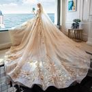 婚紗禮服 禮服洋裝 一字肩婚紗新娘法式公主夢幻拖尾新娘星空主婚紗 迪澳安娜