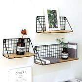 【BlueCat】免打孔 無痕貼掛勾 無痕釘 客廳臥室長方形木板鐵製置物架 (小) 收納架
