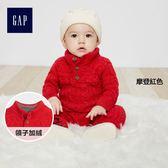 Gap男嬰兒 粗棒針織長袖一件式包屁衣 349435-摩登紅色
