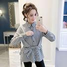 VK精品服飾 韓系撞色憑接假兩件收腰系帶蝴蝶結襯衫長袖上衣