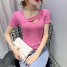 短版上衣 網紅大U領短袖t卹女修身顯瘦夏...