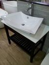 【麗室衛浴】洗臉盆 英國 LIVING  2390  扇型台面盆  配多功能古典木架