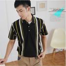 【大盤大】(P82873) 男 直條紋上衣 口袋休閒衫 短袖POLO衫 夏 台灣製 父親節 透氣涼感【剩M和L號】