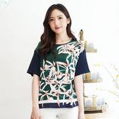 闕蘭絹 花朵森林雙色拼接蠶絲雪紡上衣-6002(藍綠)