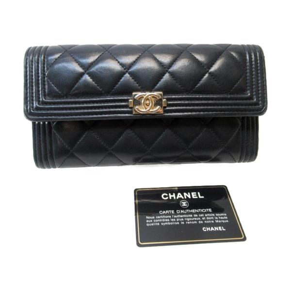 CHANEL 香奈兒 黑色羊皮菱格紋車線長夾 Boy Chanel Flap Wallet【二手名牌BRAND OFF】