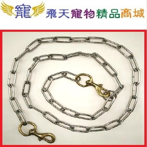 [寵飛天商城] 寵物白鐵項圈+白鐵鍊 & 6# 雙頭白鐵鍊 (適用大型犬)