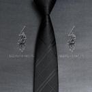 領帶男士黑色韓版商務正裝高檔品牌免打桑蠶絲懶人拉錬式潮【小艾新品】