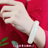 手鐲 新款和田玉羊脂玉級白玉復古圓條少女細條鐲子女生民族風情侶 - 小衣里大購物