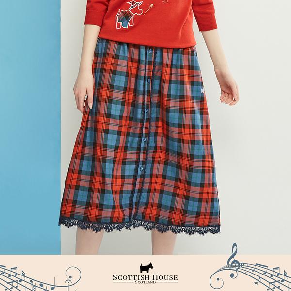 【Scottish House】 正格紋 後腰鬆緊帶 蕾絲 A字中長裙 (AN2105)