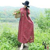 民族風復古印花棉麻寬鬆大尺碼連身裙袍子裙【萬聖節推薦】