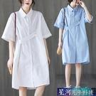 襯衫洋裝 夏季新款中長款大碼女裝文藝洋裝遮肚顯瘦POLO領韓版襯衫裙 星河光年