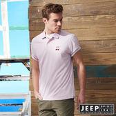 【JEEP】品牌經典素面短袖POLO衫 (粉)