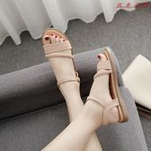 Pr 涼鞋女夏季平底韓版平跟復古羅馬鞋