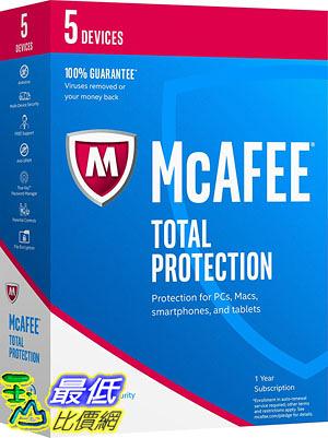 [106美國直購] 2017美國暢銷軟體 McAfee 2017 Total Protection-5 Devices