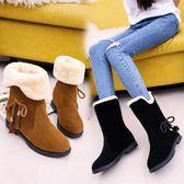 雪地靴冬季新款韓版雪地靴女鞋短筒加絨保暖平底平跟學生靴子女棉鞋小明同學