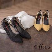 【Messa米莎專櫃女鞋】MIT高雅浪漫絨質繫踝內真皮高跟尖頭包鞋-二色