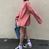 長袖t恤女寬松韓版bf港風粉紅色體恤春季上衣【時尚大衣櫥】