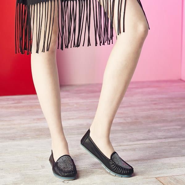 ★2017春夏★Keeley Ann舒適百搭~閃耀水鑽真皮平底莫卡辛鞋(黑色)