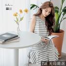 【天母嚴選】正韓-條紋配色無袖魚尾連身裙(共二色)