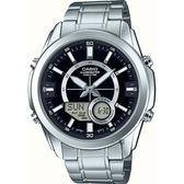 CASIO 卡西歐 10年電力 世界時間雙顯手錶-黑x銀 AMW-810D-1AVDF / AMW-810D-1A