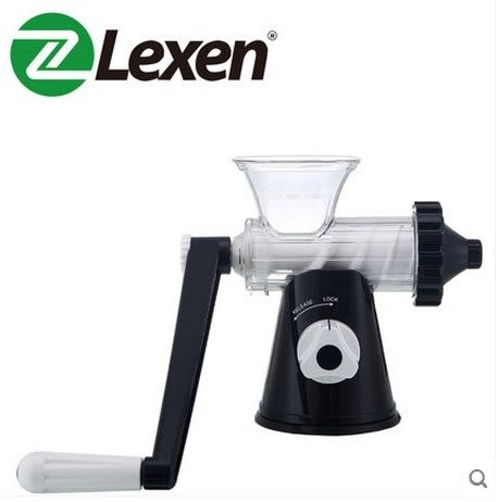 Lexen手動榨汁機標準版家用手搖壓汁器簡易水果原汁機小麥草榨汁【黑色】