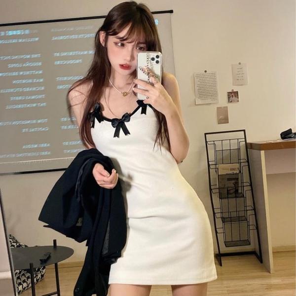 夜店洋裝 連身裙女性感蝴蝶結吊帶短裙春夏2021年新款法式復古內搭打底裙子 非凡小鋪