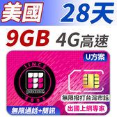 U方案 28天 無限美國 境內通話+簡訊 支援分享功能 前面9GB支援4G高速