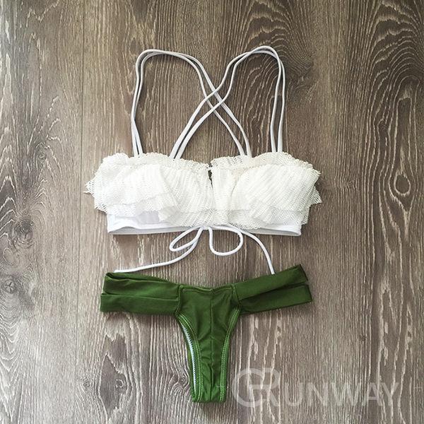 【R】歐美 軍綠時尚 網紗蕾絲 裝飾 雙細繩 超性感 丁字褲 比基尼 二件式 舒適無鋼圈 泳衣