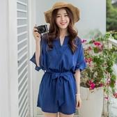 韓版收腰系帶鏤空荷葉喇叭袖寬鬆連身短褲女大碼