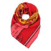 HERMES Grand Carrosse 圖騰真絲披肩方型圍巾(紅色)179152