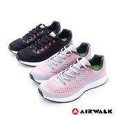 美國AIRWALK  有氧氣流 雙層網巢透氣超彈運動鞋(男)-舒服黑