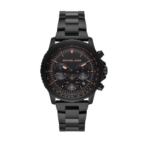 MICHAEL KORS經典黑鋼三眼時尚腕錶MK8755