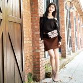 秋冬新品[H2O]仿毛呢附本布腰帶台型短裙 - 綠/卡/駝色 #0652013