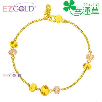 幸運草金飾-布拉格之戀-黃金水晶手鍊