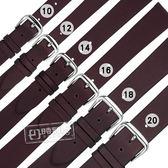 Watchband / 10.12.14.16.18.20mm / 各品牌通用 質感別緻 百搭款 柔軟 真皮錶帶 酒紅色