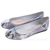 Stella McCartney 藍/銀色蛇紋平底娃娃鞋 1330138-23