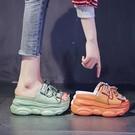 厚底涼拖鞋女外穿2021年夏季新款百搭ins潮增高一字拖仙女風拖鞋 蘿莉新品