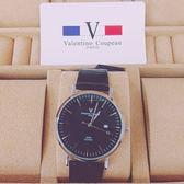 valentino coupeau 范倫鐵諾 都會愛情 黑色皮帶 日期顯示 防水手錶 男錶 61605黑釘大