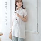 長版衫    無印素面長版棉麻襯衫附綁帶   二色-小C館日系