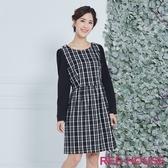 【RED HOUSE 蕾赫斯】格紋剪接洋裝(黑色)