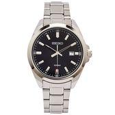 SEIKO 簡約時尚風格不鏽鋼錶帶手錶(SUR277P1)-黑面x銀色/42mm