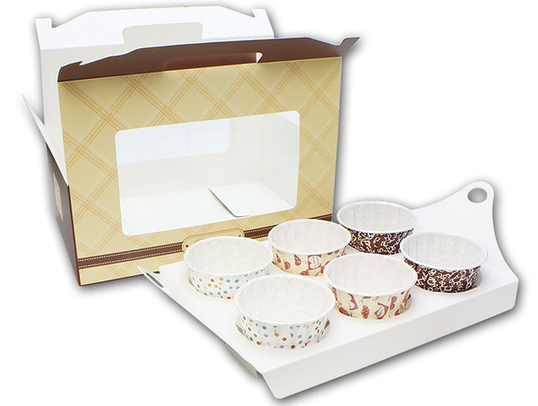 6入開窗 紫/粉/咖手提盒 馬芬瑪芬盒【C074】杯子蛋糕盒 慕斯奶酪 月餅盒 包裝盒 禮盒 蛋塔盒