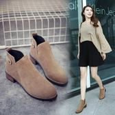 短靴 2018新款馬丁靴女英倫風學生韓版百搭粗跟短靴女圓頭短筒及裸靴