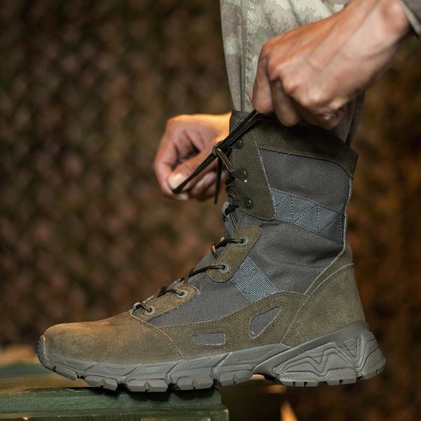 戰術靴 防穿刺高幫軍靴 反毛皮+牛津布抗磨損作戰靴叢林特種兵  降價兩天