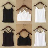 小吊帶背心女夏性感棉質短款打底外穿內搭顯瘦百搭黑色白色吊帶衫  Cocoa