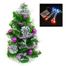 聖誕樹-摩達客 台灣製迷你1呎/1尺(30cm)裝飾聖誕樹(銀紫色系)+LED20燈電池燈(彩光)